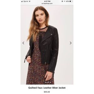 💋NWT💋 Topshop Quilted Faux Leather Biker Jacket